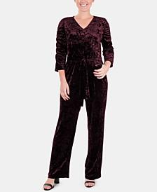 Petite Ruched-Sleeve Velvet Jumpsuit