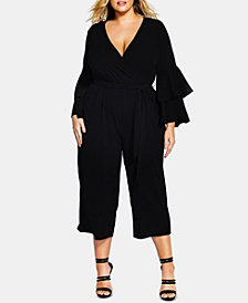 City Chic Trendy Plus Size Ruffle-Sleeve Jumpsuit