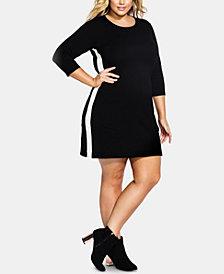 City Chic Trendy Plus Size Varsity-Stripe Dress
