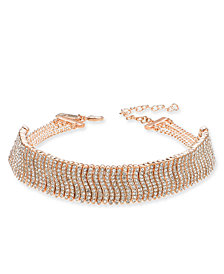 "I.N.C. Rose Gold-Tone Crystal Wavy Bar Choker Necklace, 11-1/2"" + 3"" extender, Created for Macy's"