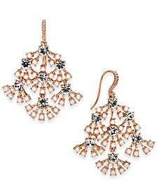 I.N.C. Rose-Gold Tone Pearl & Crystal Chandelier Earrings, Created for Macy's