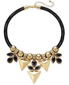 """Thalia Sodi Two-Tone Crystal & Stone Mesh Statement Necklace, 18-1/2"""" + 3"""" extender, Created for Macy's"""