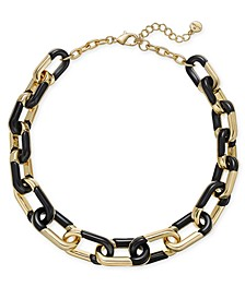 "Gold-Tone & Black Acrylic Large Link Necklace, 20"" + 2"" extender, Created for Macy's"