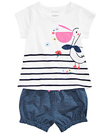 First Impressions Baby Girls Pelican-Print T-Shirt & Bubble Shorts, Created for Macy's