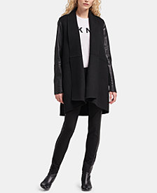DKNY Open Front Faux-Leather-Sleeve Jacket