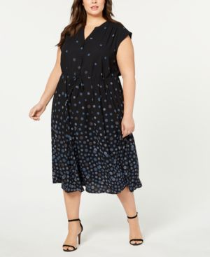 Image of Anne Klein Plus Size Nathalie Printed Maxi Shirtdress