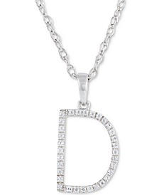"Diamond (1/10 ct. t.w.) Initial Pendant Necklace in 10k White Gold, 16"" + 2"" extender"
