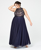 8fa843d62bba2 City Studios Trendy Plus Size Rhinestone Lace Mock-Neck Gown