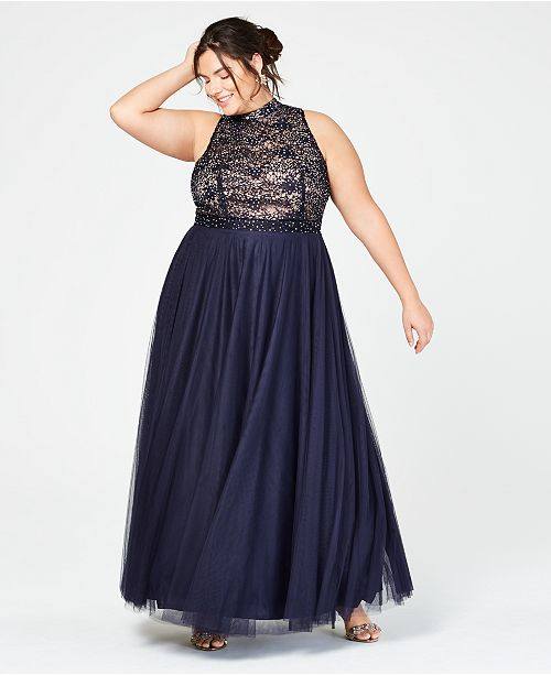 City Studios Trendy Plus Size Rhinestone Lace Mock-Neck Gown