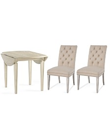 Cutler Dining Furniture, 3-Pc. Set (Table & 2 Upholstered Back Parsons Chairs)