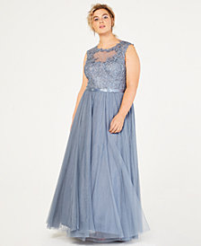 City Studios Trendy Plus Size Sparkle Lace & Tulle Gown