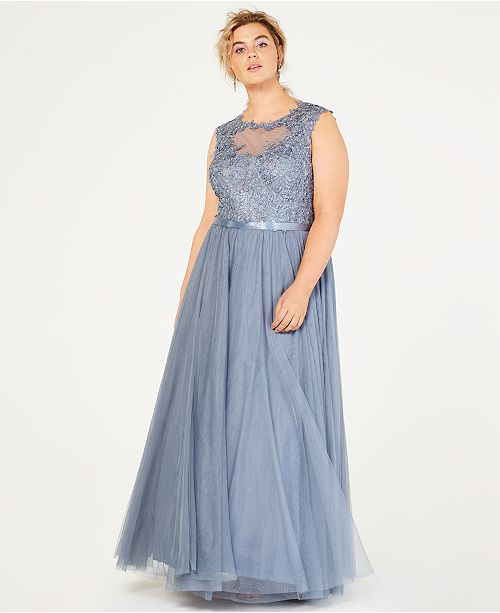 City Studios Trendy Plus Size Sparkle Lace & Tulle Gown & Reviews ...