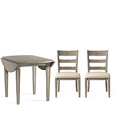 Talulah Dining Furniture, 3-Pc. Set (Table & 2 Wood Back Side Chairs)