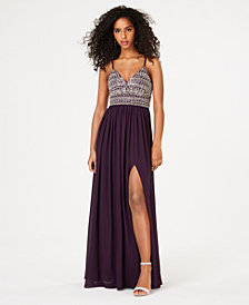 City Studios Juniors' Beaded Top Sleeveless Gown
