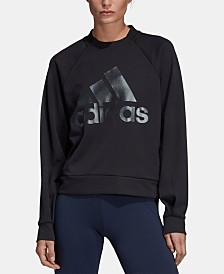 adidas Shine Logo Zipper-Back Logo Sweatshirt