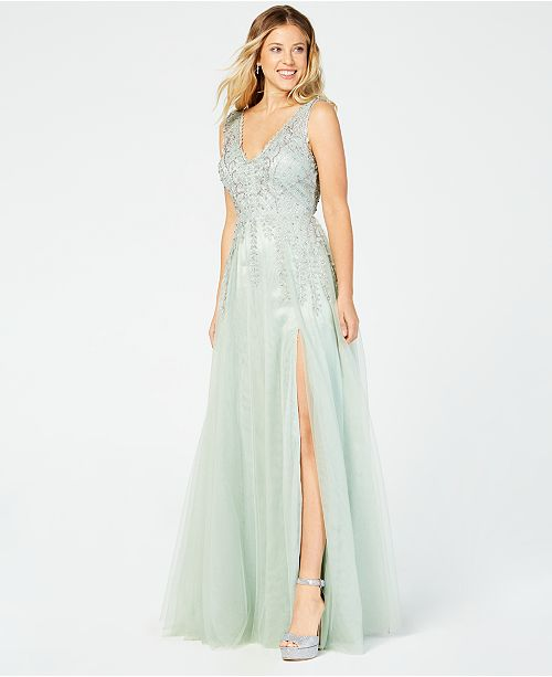 City Studios Juniors' Rhinestone Embroidered Slit Gown
