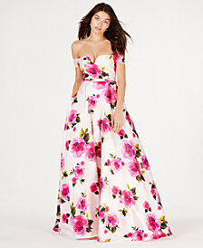City Studios Juniors' Off-The-Shoulder Printed Ballgown, Created for Macy's