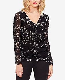 Vince Camuto Mesh-Sleeve Ruched Top