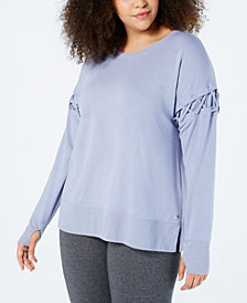 Ideology Plus Size Crisscross-Sleeve Sweatshirt, Created for Macy's
