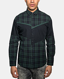 Sean John Men's Diagonal Pieced Plaid Shirt