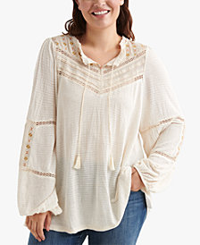 Lucky Brand Plus Size Embellished Peasant Top
