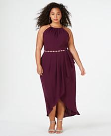 City Chic Trendy Plus Size High-Low Faux-Wrap Dress