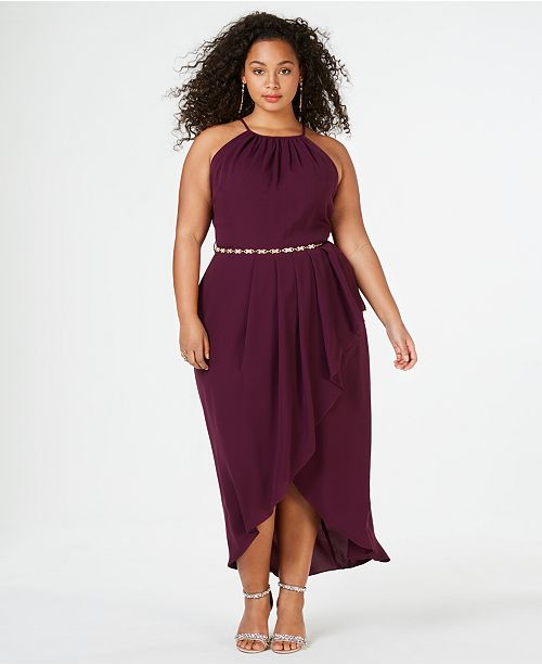 Trendy Plus Size High-Low Faux-Wrap Dress
