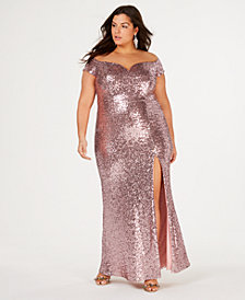 B Darlin Trendy Plus Size Off-The-Shoulder Sequin Gown