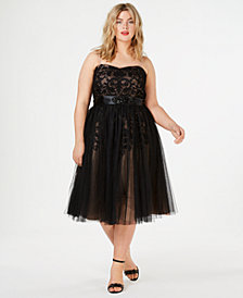 City Chic Trendy Plus Size Tulle Overlay Party Dress