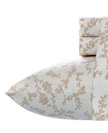 Victoria Beige Twin Flannel Sheet Set