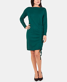 NY Collection Drawstring Ruched Sweater Dress
