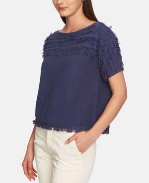 1.STATE Cotton Fringe Short-Sleeve Top in Antique Blue
