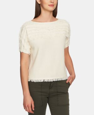 1.STATE Cotton Fringe Short-Sleeve Top in White Swan