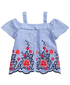 Big Girls Embroidered Scalloped-Hem Top