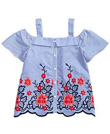 Monteau Big Girls Embroidered Scalloped-Hem Top