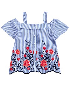 Monteau Big Girls Embroidered Scalloped-Hem Top