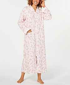 Miss Elaine Printed Quilt-In-Knit Long Zip Robe