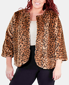 NY Collection Plus Size Animal-Print Faux Fur Jacket