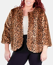 472ed30901111 NY Collection Plus Size Animal-Print Faux Fur Jacket