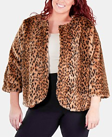 35d4b9ab427 NY Collection Plus Size Animal-Print Faux Fur Jacket