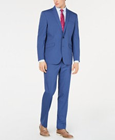 Kenneth Cole Reaction Men's Techni-Cole Slim-Fit Stretch Blue Micro-Grid Suit