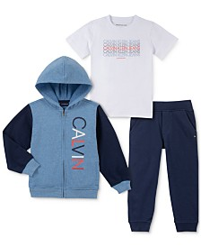 Calvin Klein Little Boys 3-Pc. Full-Zip Hoodie, T-Shirt & Joggers Set