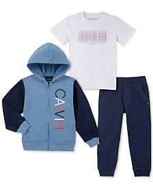 Calvin Klein Toddler Boys 3-Pc. Full-Zip Hoodie, T-Shirt & Joggers Set