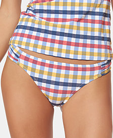 Jessica Simpson Texture Side-Shirred Hipster Bikini Bottoms