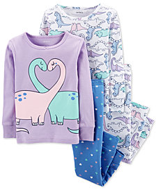 Carter's Baby Girls 4-Pc. Dino-Print Cotton Pajamas Set
