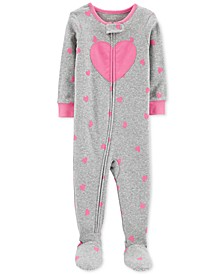 Baby Girls Heart-Print Cotton Footed Pajamas