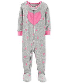 Carter's Baby Girls Heart-Print Cotton Footed Pajamas