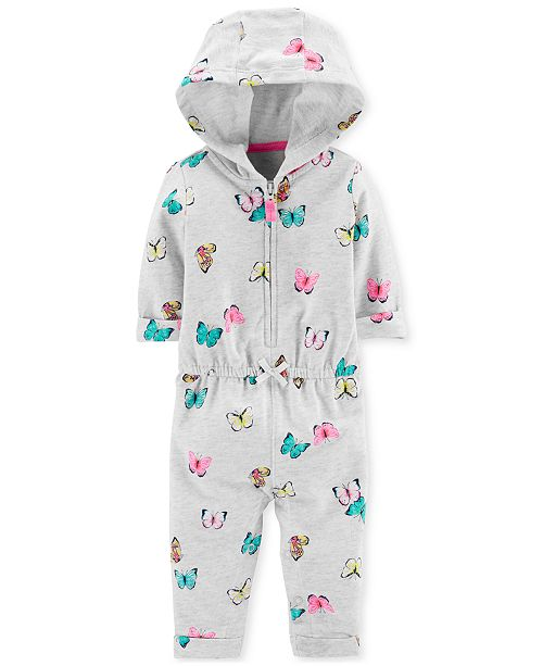 Carter's Baby Girls Butterfly-Print Hooded Cotton Coverall