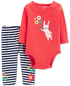Carter's Baby Girls 2-Pc. Cotton Bunny Bodysuit & Striped Pants Set