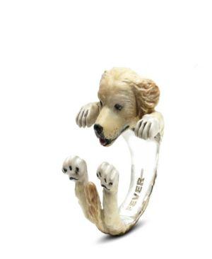 DOG FEVER Golden Retriever Hug Ring In Sterling Silver And Enamel in White